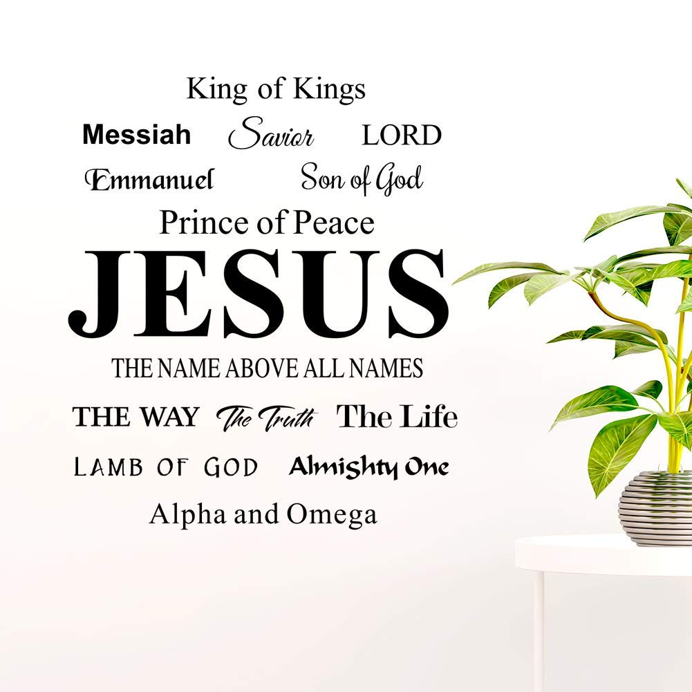 Bible Verse Wall Decals Jesus Name Stickers Above All Kings Son of God Lamb of Lord Home Decor Quote for Living Room…