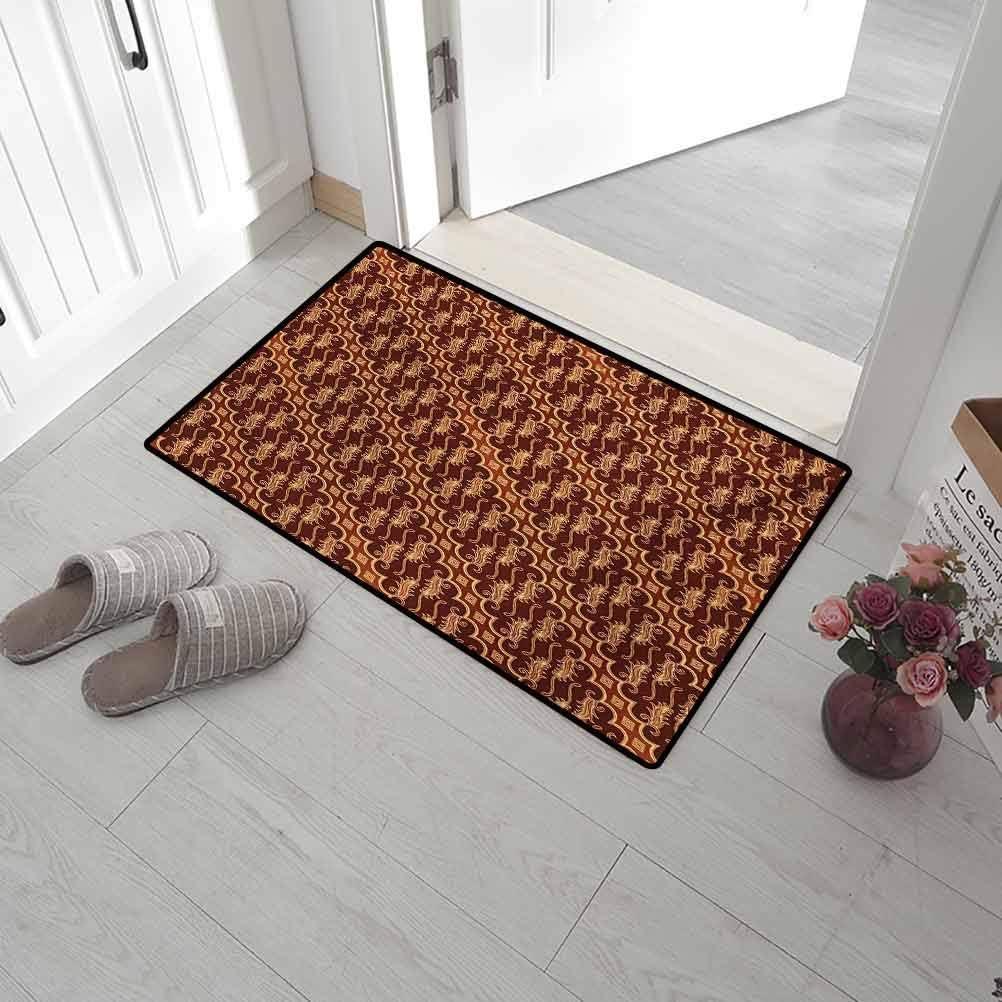 Leigh R. Avans Door Mat Outdoors Brown Home Plate Doormat Batik Parang Barong Diagonal Pattern Indonesian Culture and Art Design 15