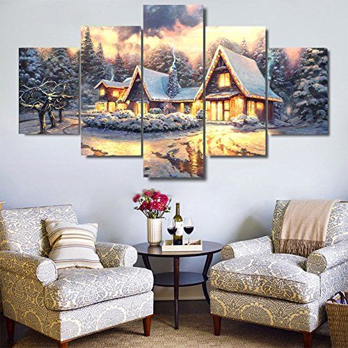 OYJJ 5Pcs Christmas Village Oil Painting Canvas Wall Art Christmas Country Night Scene Oil Painting Home Decoration (Small)