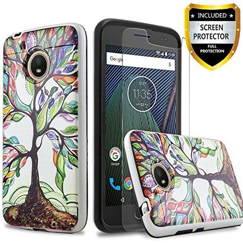 CircleMalls Moto E4 Case, 2-Piece Style Hybrid Shockproof Hard Case Cover with [Premium Screen Protector] and Touch Screen Pen for Motorola Moto E4 (Lucky Tree)