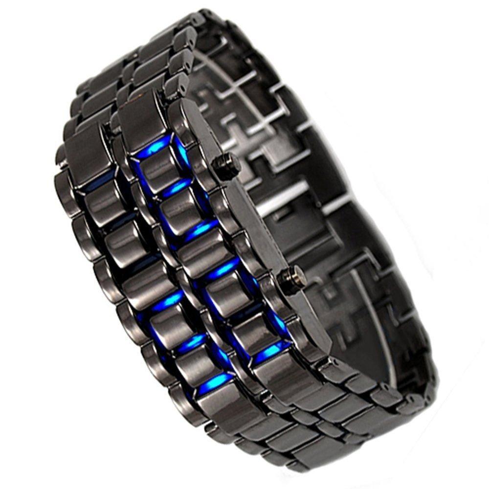 Ice Samurai japonés Inspirado LED azul reloj para hombres y mujeres