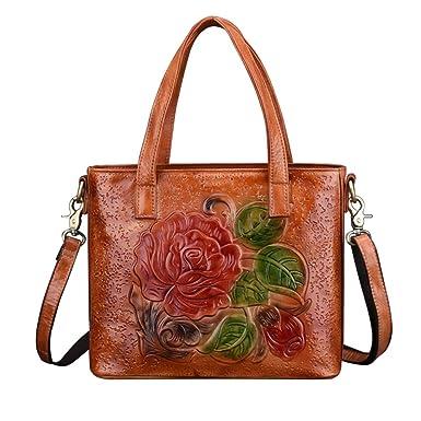925ac47bd8af Crossbody Bag for Women Vintage Rose Top Handle Tote Purses Leather  Satchels Handbag (Brown)