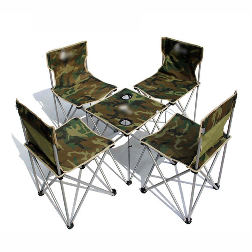 ZGL 旅行椅子 屋外折りたたみテーブルと椅子5つのセットのシンプルな折りたたみテーブルと椅子カモフラージュカラー B07C7CCRSR