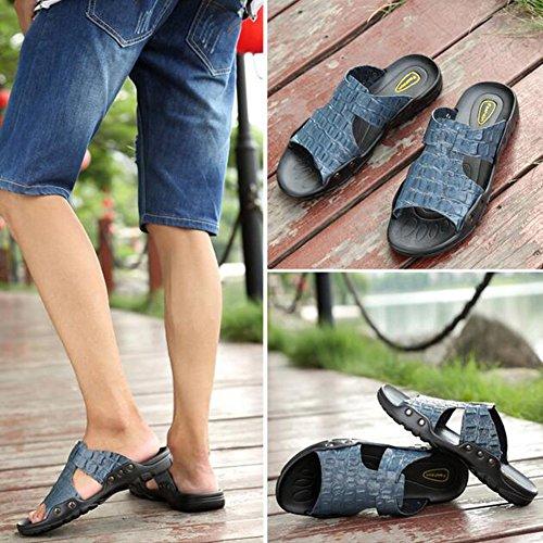for Leather Light Shoes Rivet Sandals Blue Walking Brown Outdoor HUAN Slippers amp; Career Black Buckle Spring Summer Comfort Office Men's Shoes Soles Casual 6qPXFxwCEf