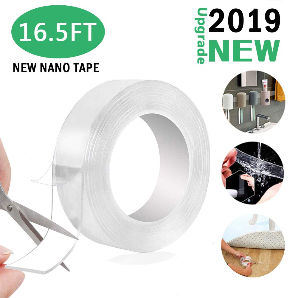 【2019 New】16.5FT Reusable Traceless Tape,Multifunction Reusable Nano Tape Movable Washable Tape Double Sided Tape Clear Gel Nano Grip Tape for Paste Photos and Posters, fix Carpet mats, Paste Items by ENTRANCED