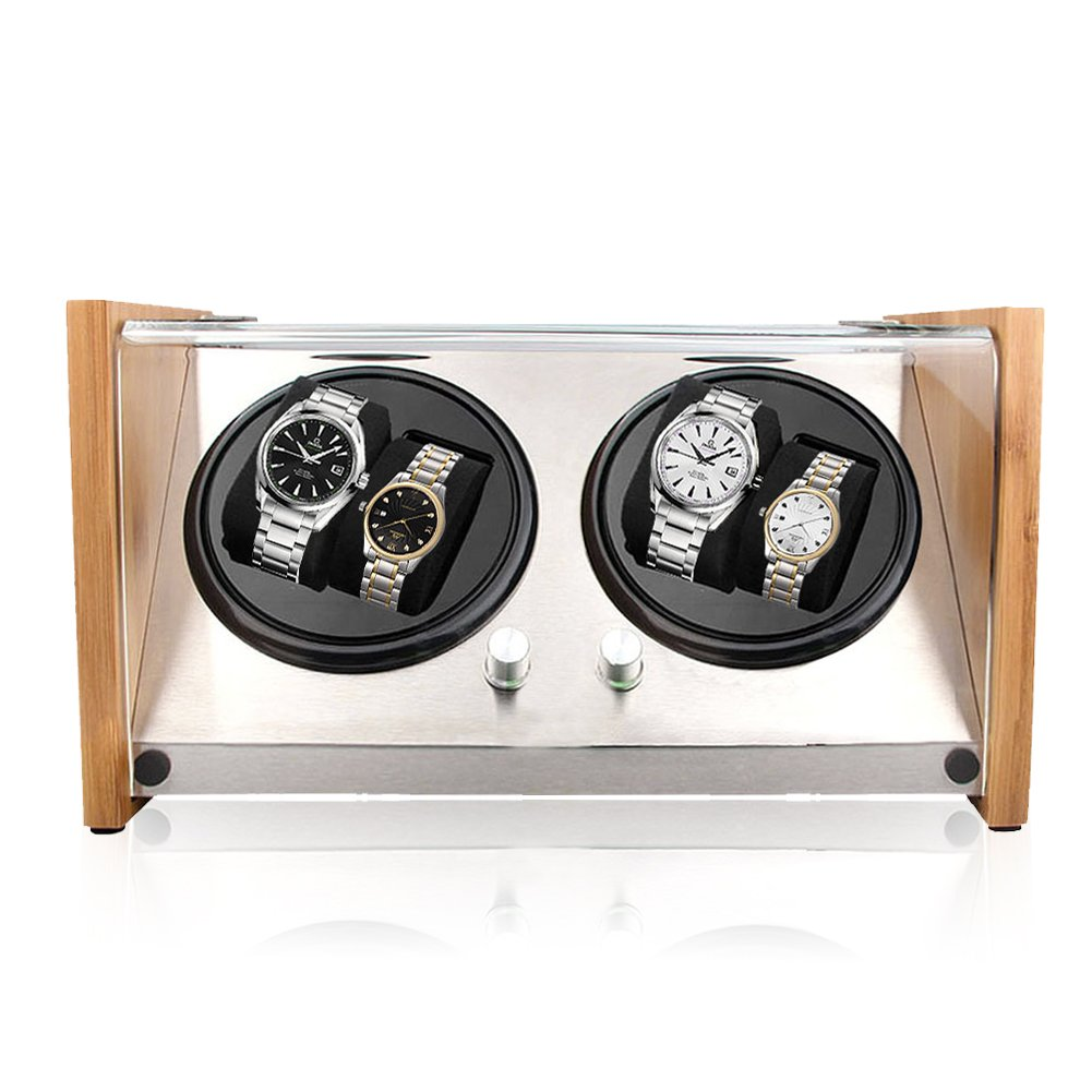 Watch Winder Quad Automatic Case 4 Watches Quiet Rotation Display Box AC Plug in Battery Powered Japanese Motors (Bamboo)