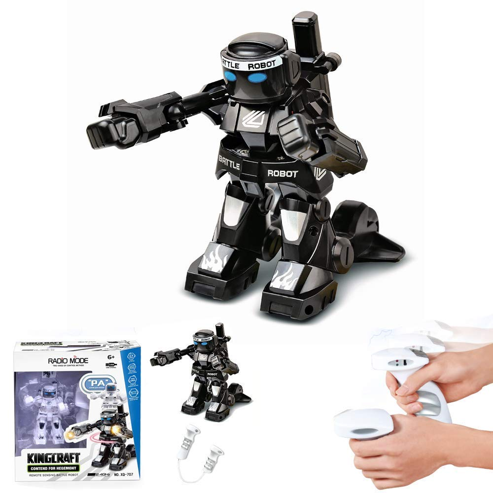 Dulcii RC Battle Boxing Robot/Toys, Remote Control 2.4G Humanoid Fighting Robot, Two Control Joysticks Real Boxing Fight Experience (Black & White) by Dulcii (Image #2)