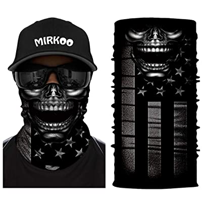 MIRKOO 3D Breathable Seamless Tube Face Mask, Dust-Proof Windproof UV Protection Motorcycle Bicycle ATV Face Mask for Cycling Hiking Camping Climbing Fishing Hunting Motorcycling (SKULL-859): Clothing