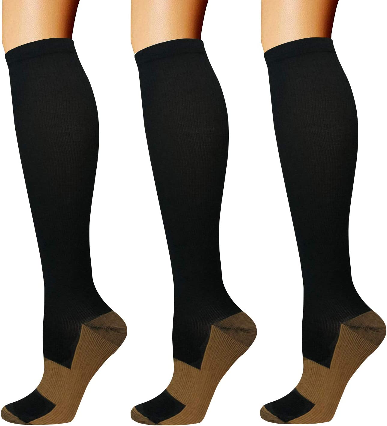 Copper Compression Socks for Men & Women(3 Pairs),15-20mmHg is Best for Running,Medical,Pregnancy,Travel,Nurses(Large/X-Large)