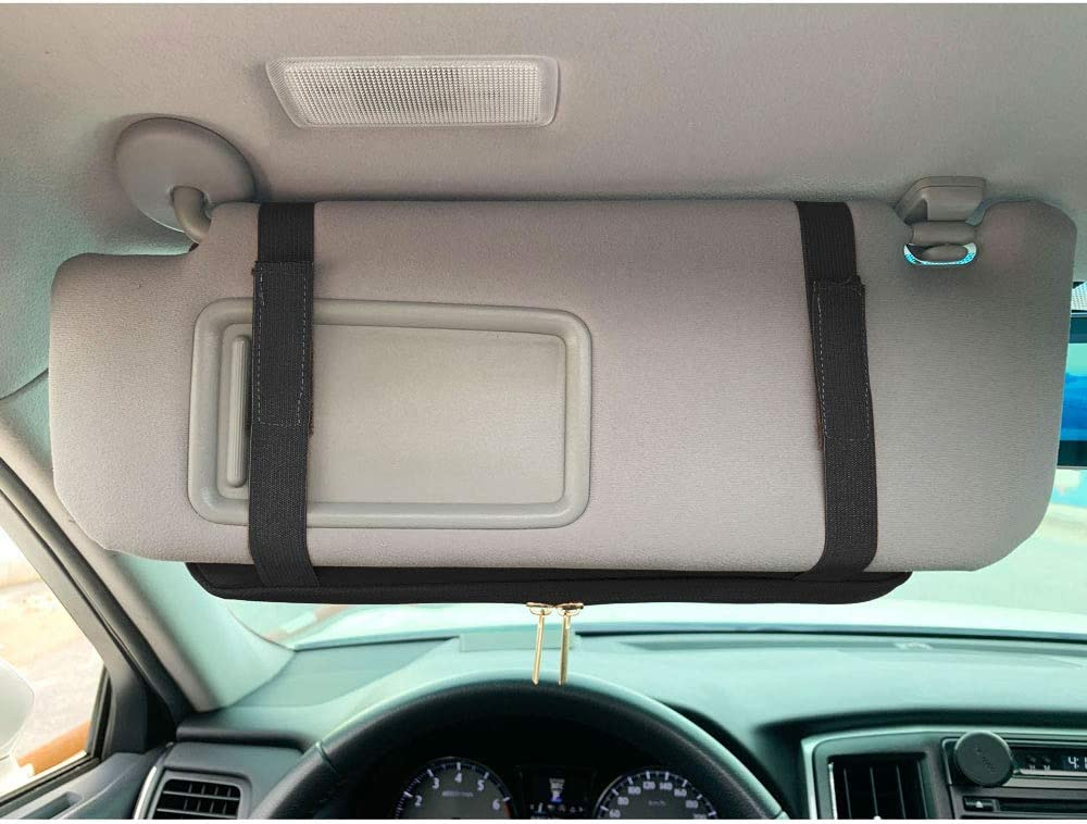 Auto Interior Accessories Pocket Organizer Storage Pouch Bag Car Truck SUV Registration /& Insurance Document Holder Road Trip Essential Gift for Any Driver Black 2 Pack Car Sun Visor Organizer