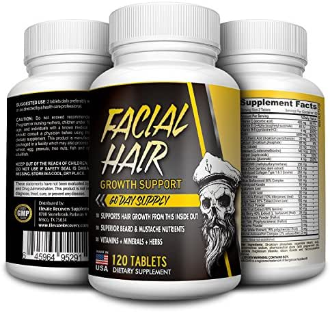 2-Month Facial Hair Growth Supplement - Beard Vitamins - Natural Beard Support Supplements - Pills - 120 Tablets