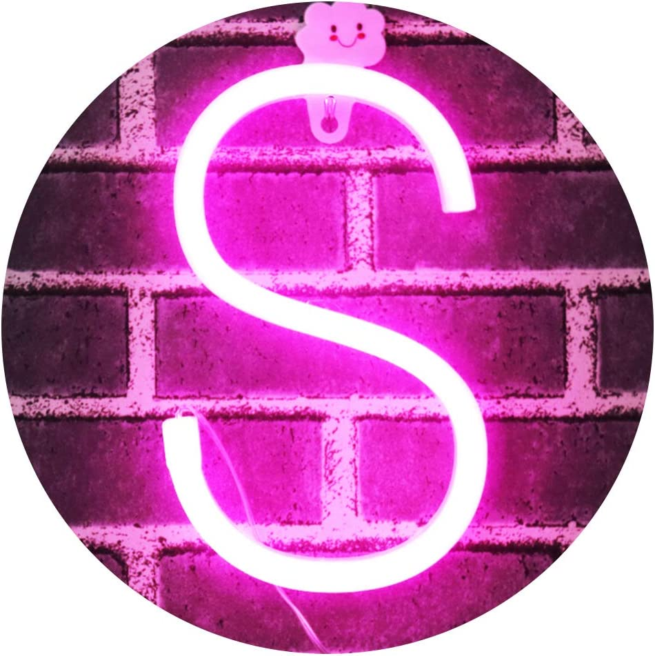 Obrecis Light Up Letters Neon Signs, Pink Marquee Letter Lights Wall Decor for Christmas, Birthday Party, Bar Valentine's Day Words-Pink Letter S