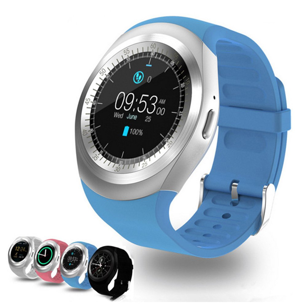 Smart Watch Y1 Bluetooth 3.0 Smart Watch HD IPS Round Touch Screen Cell Phone Watch Support SIM & Tf Card Unlocked Watch Cell Phone with 1.54 Inch Screen SmartWatch Sleep Monitor (Blue)
