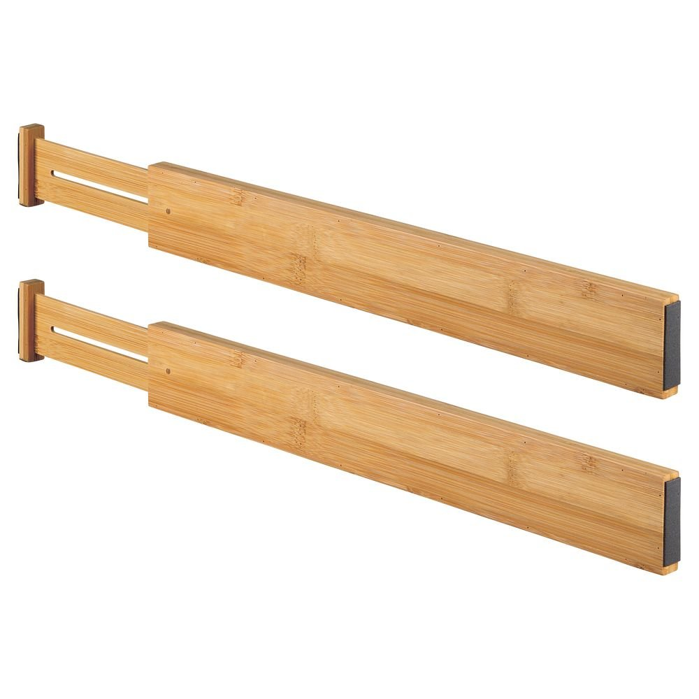 Kitchen Essential Bedroom Accessories and Vanity Drawers MetroDecor mDesign Set of 2 Drawer Dividers Bamboo Adjustable Drawer Separators for Closet