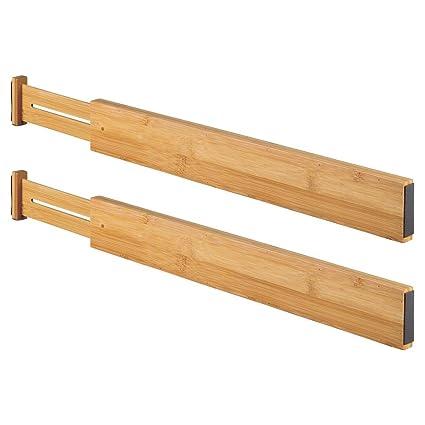 mDesign Juego de 2 organizadores de cajones Ajustables – Separadores de cajones de bambú con Resorte – Ideales como Organizador de cajones, como ...