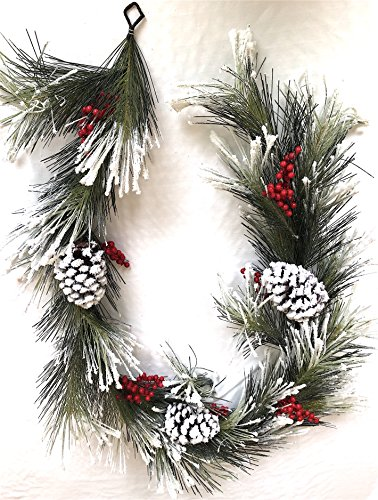 GORGEOUS 6' Designer Snow Garland, Adorned with Lite Flocking, Juniper Pine Cones & Berries - Mimics Texture and Color of Natural, Freshly Cut Needles - Highest Quality Materials for Festive Elegance
