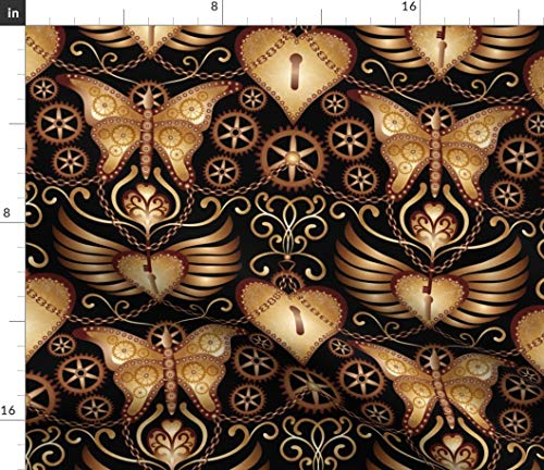 Spoonflower Steampunk Heart Fabric - Butterfly Lock Hearts Hearts Wings Locks Butterfly Gears Love Chains Steampunk by Vo Aka Virginiao Printed on Petal Signature Cotton Fabric by The Yard