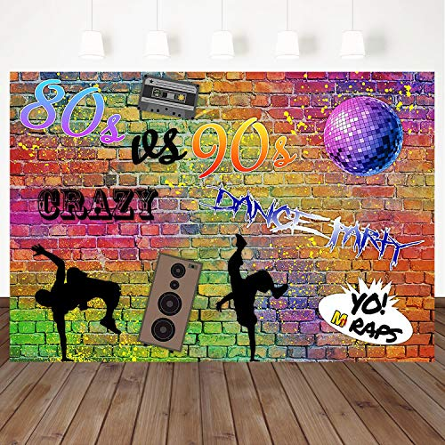 Mehofoto 80s 90s Backdrop Graffiti Wall Background Crazy Dance Background 7 X 5Ft Vinyl Birthday Party Photography Background Adult Party Photo Banner Decoration Props -