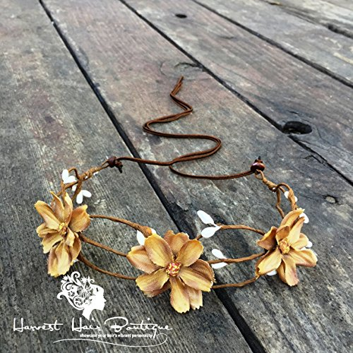 Floral boho headpiece crown in ivory beige // Flower headband halo crown for a hippie chic party, festival, or wedding hair crown
