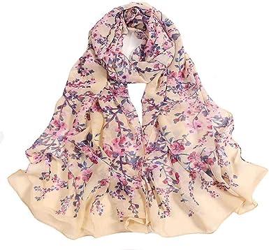 Tsmile Women Flower Print Scarf Slik Chiffon Light Cozy Shawl Evening Large Satin Square Silk Feeling Hair Scarves