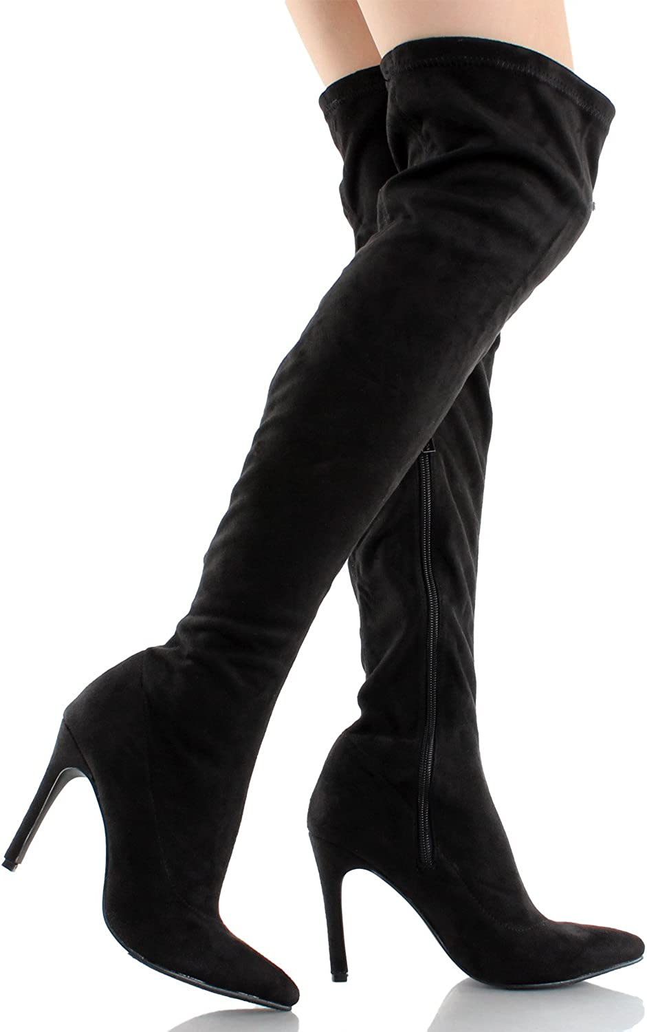 Breckelles Beverly-54 Faux Suede Pointy Toe Wraparound Stiletto Olive Bootie