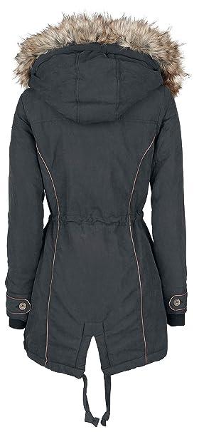 1a73c2080d07 Urban Surface Fake Fur Winter Coat Wintermantel schwarz  Amazon.de   Bekleidung