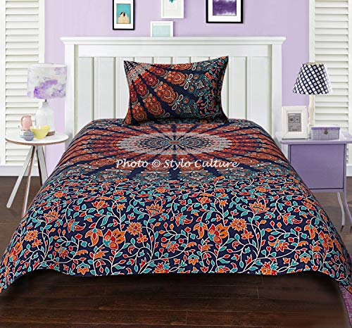 Stylo Culture Cotton Ethnic Mandala Duvet Cover Set Twin Full Size Dark Blue Orange Decorative Peacock Feather Floral Patterned Printed Home Decor for Adults Kids Quilt Comforter Cover