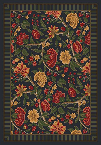 Pastiche Vachell Ebony Floral Oval Rug Size: Oval 3'10