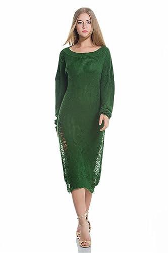 Otoño y el invierno de las mujeres jersey suéter neto suéter flojo suéter mangas largas vestido de o...