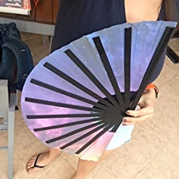 Amazon Com Customer Reviews Omytea Large Rave Folding Hand Fan For Men Women Chinese Japanese Kung Fu Tai Chi Handheld Fan With Fabric Case For Performance Wall Decorations Dancing Festival Gift Provence