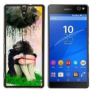LECELL--Funda protectora / Cubierta / Piel For Sony Xperia C5 Ultra -- Pintura de la acuarela de la muchacha triste --
