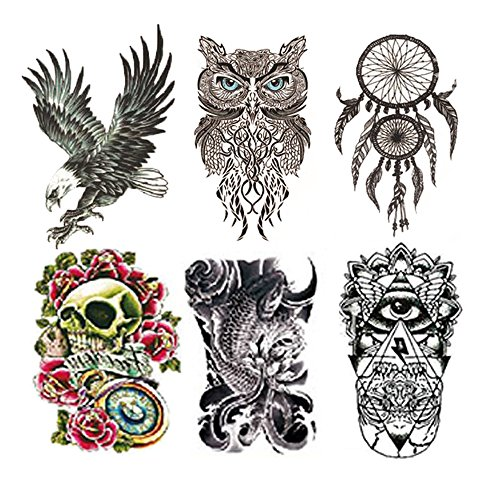 Fake Waterproof Removable Temporary Tattoos - Fashion Lady Long Lasting Body Art Stickers - Eagle Owl Fish Big Skull Flower Eye Make Up - 6 Styles Body Painting Premium Kit for Guys