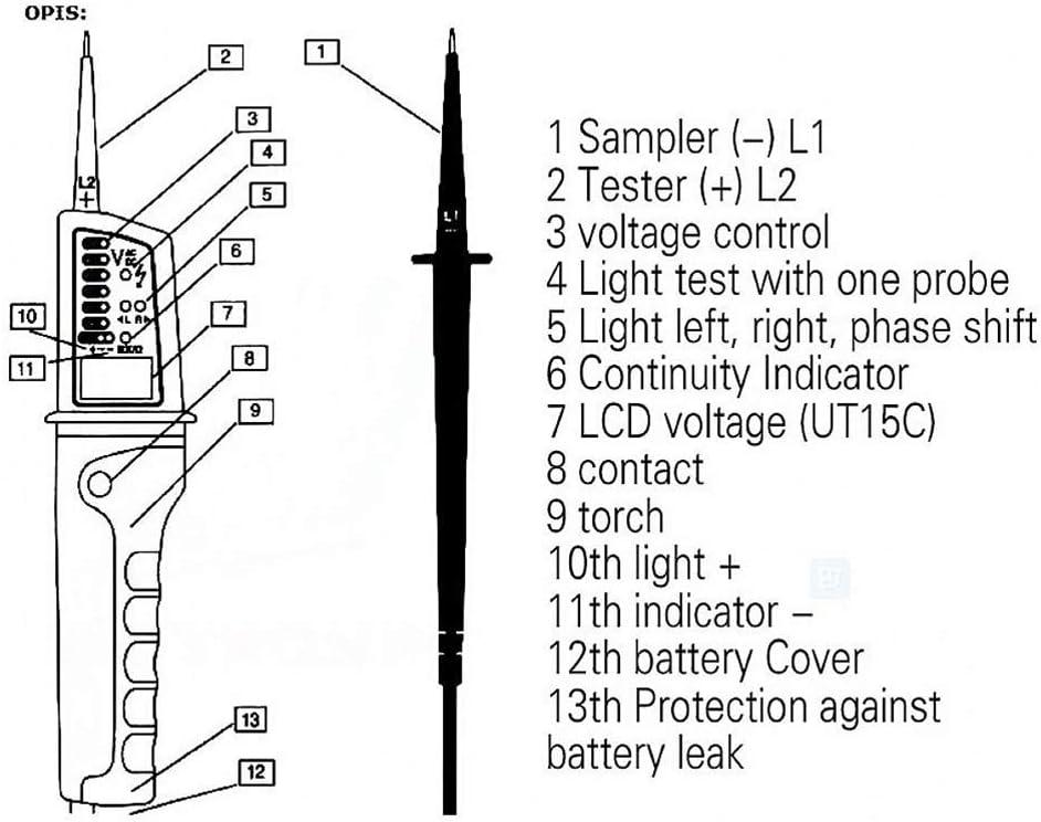 Signswise Probador electr/ónico de voltaje a prueba de agua
