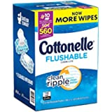 "New Cottonelle Flushable Wipes, Wavy Clean Ripple Texture, 7.25"" x 5.0"" Ea, 10 Pk - 56 Ct, Total 560 Wipes (1 Carton (560 Wipes))"