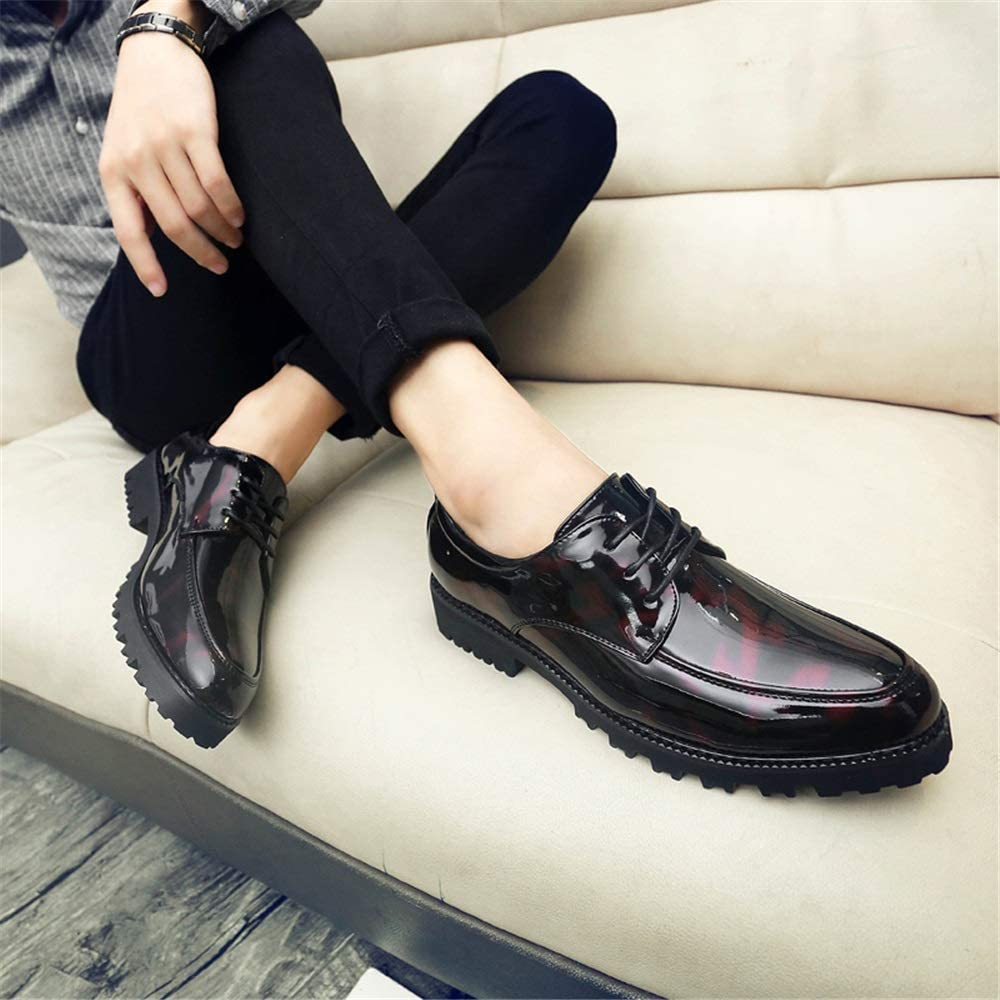 Hilotu Mens Party Shoes Modern Round Toe Oxford Dress Shoes Thick Bottom Patent Leather Lace-up Business Casual Shoes