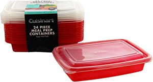 Cuisinart 1 Compartment Meal Prep Containers, 24 Piece, Set of 12 BPA Free Food Storage Containers with Lids-Reusable, Stackable Bento Box Containers-Microwave, Dishwasher, Freezer Safe-Red, 28.75oz
