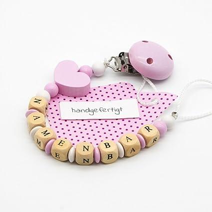 Baby Chupete Cadena con nombres - Dados, perlas, lente ...