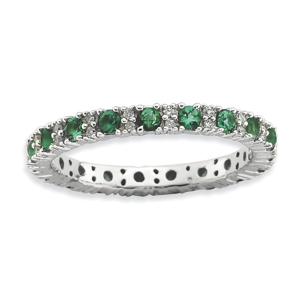Roy Rose Jewelry Sterling Silver Stackable Expressions Created Emerald & Diamond Ring Size 8