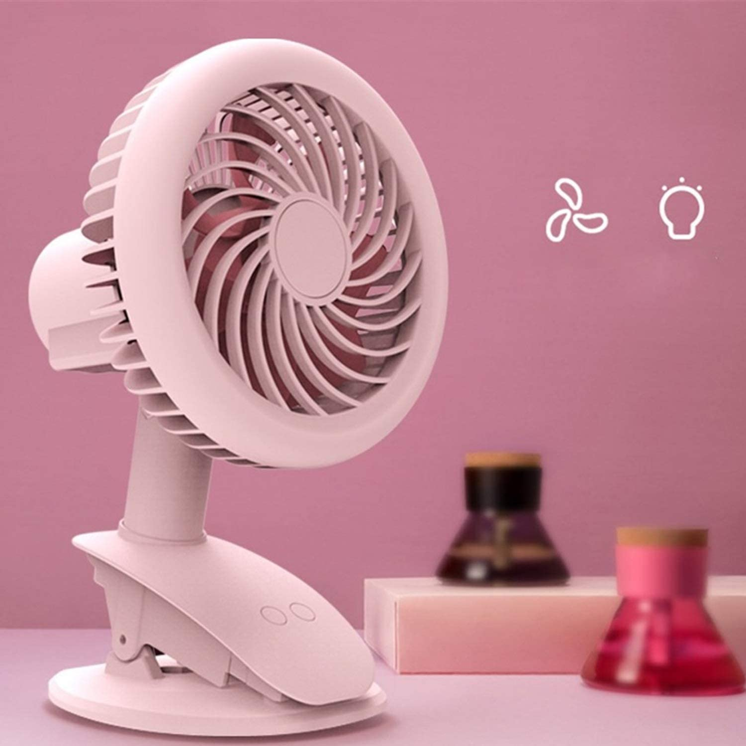 Fan Fashion Clip Fan Night Light Dual-use Fan Shake Head USB Charging Mini Fan Handheld Desktop Fan Mini Portable Cooling Fan Color : White