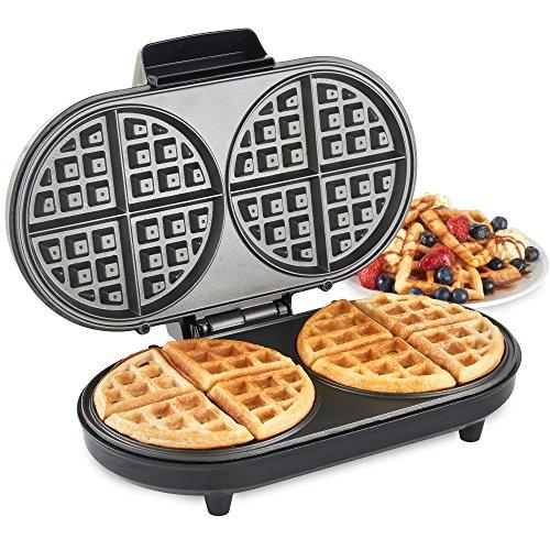 -[ VonShef Large Round Waffle Maker – 2 Slice Waffle Iron with Non-Stick Coating & Automa