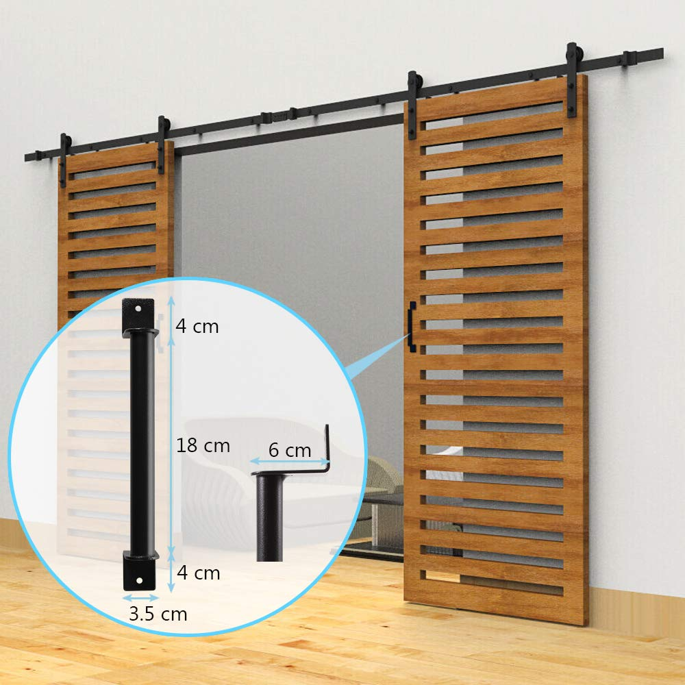6.6 FT Black Barn Door Hardware Kit Dulcii Steel Slide Sliding Track Rail Hanger Roller 200cm Door Hardware Black Antique Handles Included