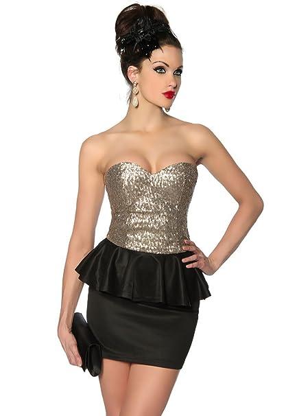 schößchen Fiesta Vestido Mini vestido Nochevieja con lentejuelas Dorado Bandeau Top a12857 - 1: Amazon.es: Ropa y accesorios