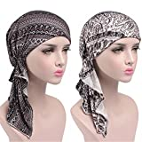 Womens Head Scarf Pre Tied Chemo Hat Beanie Sleep Turban Headwear for Cancer (8+9)