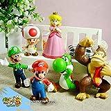 Susenstone® 6pcs Brand Mini Super Mario Bros 1.5~2.5' Action Figures Doll Toy Gifts
