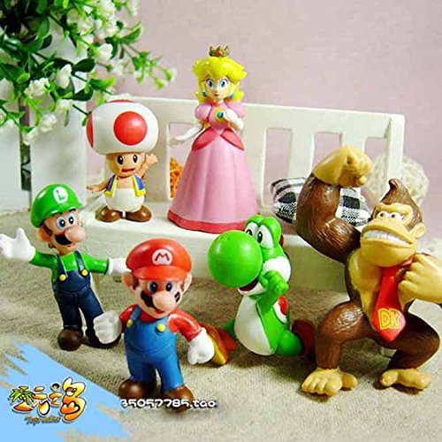 Susenstone® 6pcs Brand Mini Super Mario Bros 1.5~2.5' Action Figures Doll Toy Gifts