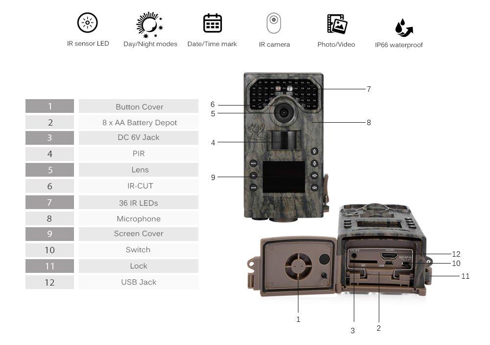 Juego Trail Cámara 1080P, joyhero Wildlife cámara 8 Mp 36 piezas Leds Ir Full HD 120 ° gran angular impermeable caza cámara de vida silvestre con infrarrojo ...