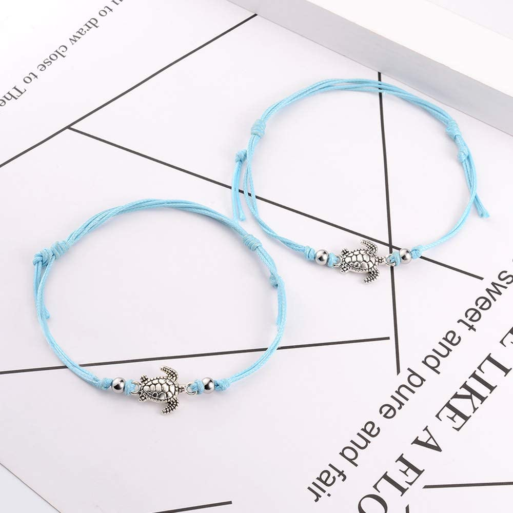 SUNSH 2Pcs Sea Turtle Anklets Bracelets Pinky Promise Distance Matching Anklets for Couple Women Teen Girls BFF Adjustable Friendship Wish Card Handmade Anklet Light Blue