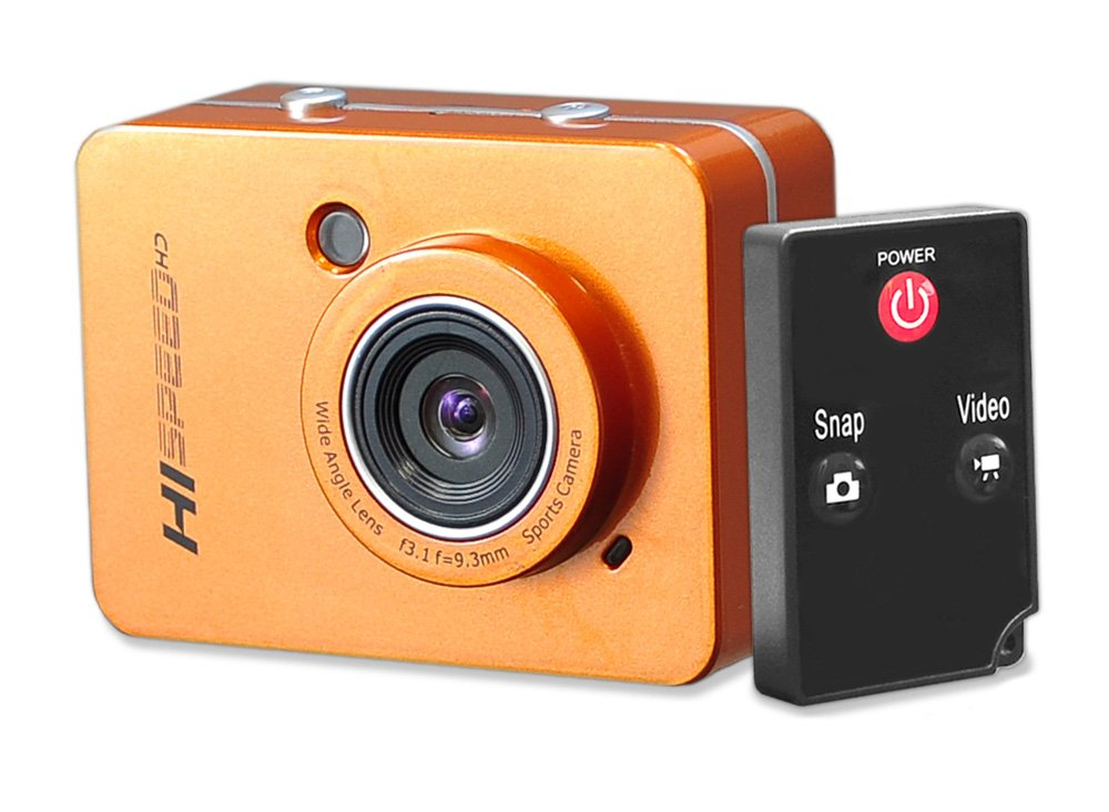 Hi Speed Sports Action Camera - HD 1080P Mini Camcorder w/ 12 MP Cam, 2.4'' Touch Screen USB SD Card HDMI, Battery - Waterproof Case, USB Cable, Wireless Remote Control, Mount - Pyle PSCHD60OR (Orange)