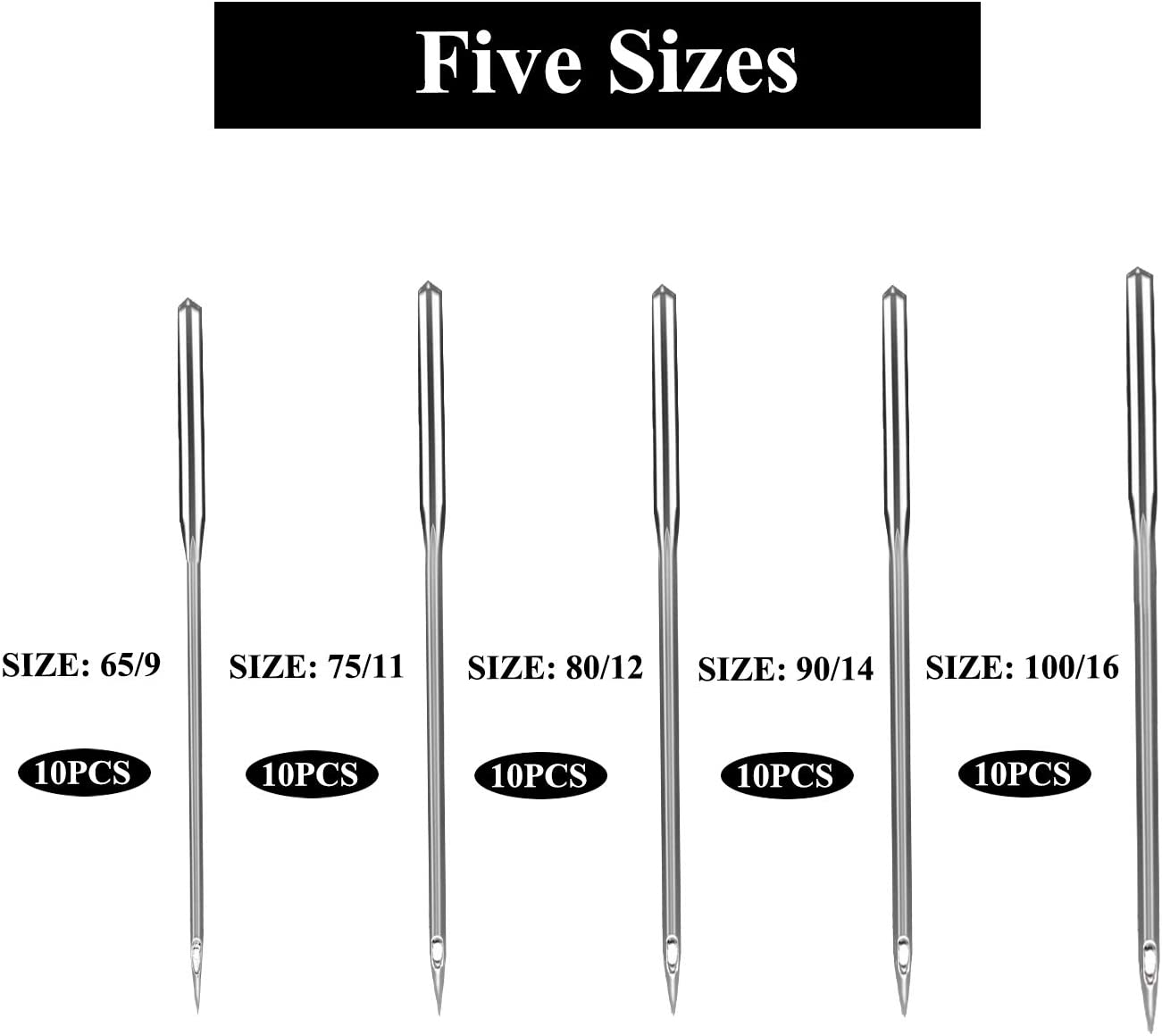 75//11 100//16 110//18 65//9 Esquirla 30x Sewing Machine Needles Industrial Universal Ball Point Size 90//14