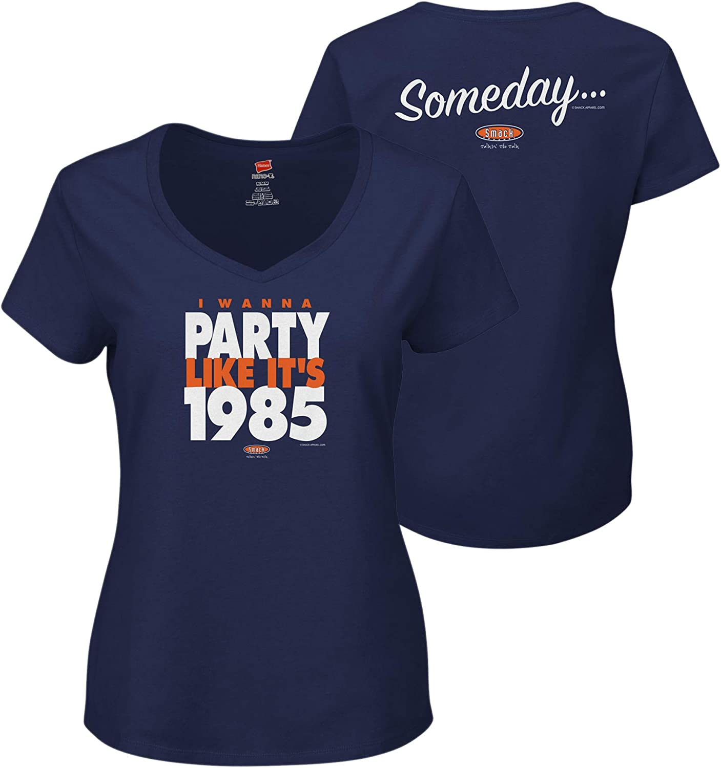 Smack Apparel Chicago Football Fans Xs-2x Someday/… I Wanna Party Like Its 1985 Navy Ladies Shirt
